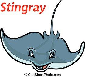 natación, caricatura, deepwater, stingray, pez
