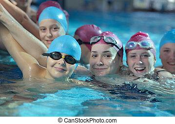 natación, childrens, feliz, piscina