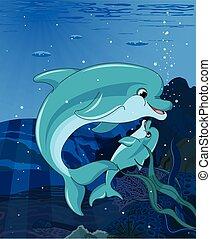 natación, delfines