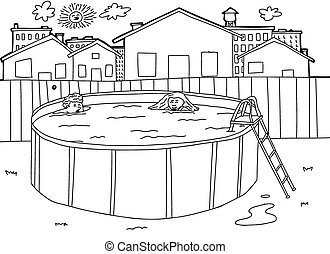 natación, escena, piscina, contorno