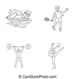 natación, estilo, conjunto, contorno, iconos, bádminton, weightlifting, símbolo, web., ilustración, bitmap, colección, gymnastics., deporte, acción, raster, artístico