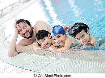 natación, familia