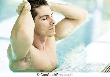 natación, joven, piscina, hombre