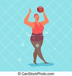 natación, mujer, viejo, ejercicio, ball., piscina