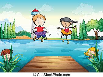 natación, niños, naturaleza