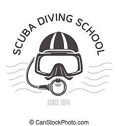 natación, o, emblemas, máscara, diseño, buzo, escafandra autónoma, escafandra autónoma, submarino, logotipo, cara, buceo