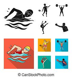 natación, plano, olímpico, conjunto, gymnastics., iconos, bádminton, weightlifting, símbolo, web., estilo, colección, bitmap, artístico, negro, deporte, ilustración, acción
