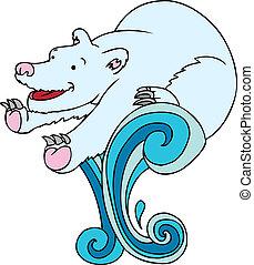 natación polar oso
