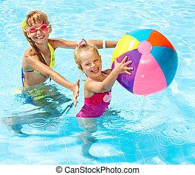 natación, pool., niños