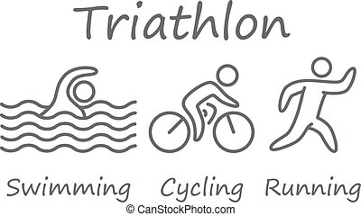 natación, triatlón, symbols., ciclismo, corriente, figuras, athletes., contornos