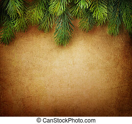 natal, árvore abeto, borda, sobre, vindima, fundo
