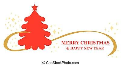 natal, árvore abeto, cartão cumprimento