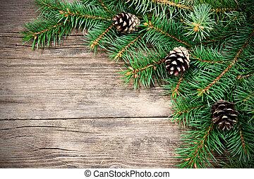 natal, árvore abeto, ligado, um, madeira, fundo
