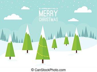 natal, árvores inverno, cena