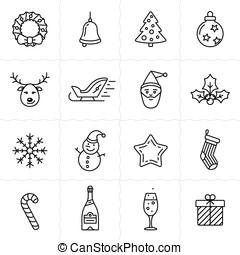 natal, ícones, jogo, -, simplus, série