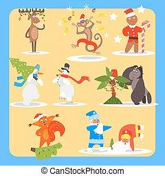 natal ano novo, ícone, set., vetorial, ilustração, cobrança