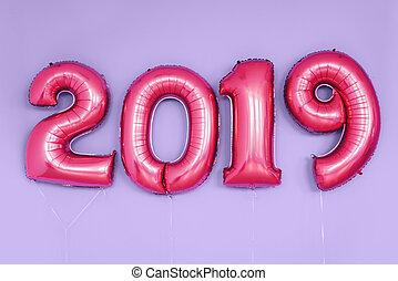 natal, ano novo, 2019, números, balloons., celebração,...