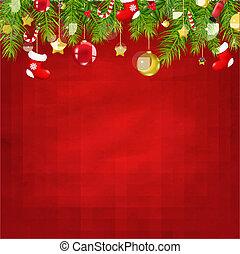 natal, ano, novo, composição, vermelho, feliz