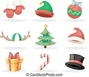 natal, ano novo, isolado, ícones, jogo, caricatura, desenho, vetorial, ilustração