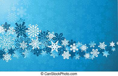 natal, azul, snowflakes, fundo