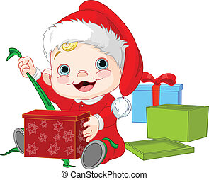 natal, bebê, abertos, presente
