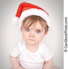 natal, bebê, chapéu santa