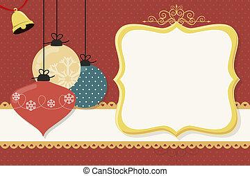 natal, bolas, cartão