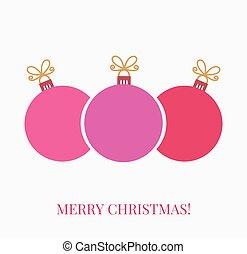natal, bolas, cartão cumprimento, fundo