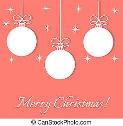 natal, bolas, cartão cumprimento