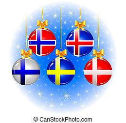 natal, bolas, com, bandeiras, de, a, escandinavo