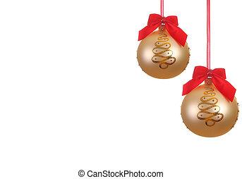 natal, bolas, com, vermelho, fitas, fundo, isolado
