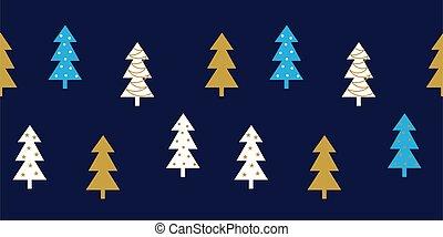 natal, borda, árvores, padrão