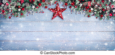 natal, borda, -, abeto, ramos, e, ornamento, ligado, nevado,...
