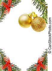 natal, borda, com, dourado, baubles