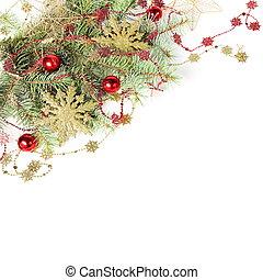 natal, borda, com, dourado, snowflakes