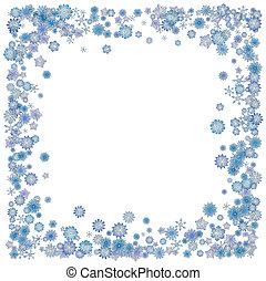natal, borda, fundo, com, azul, snowflakes