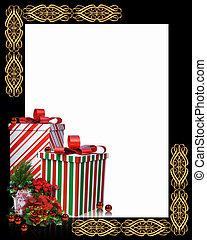 natal, borda, presentes, quadro
