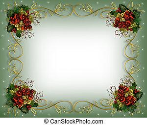 natal, borda, quadro, elegante