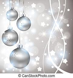 natal, brilhante, prata, fundo, com, bolas