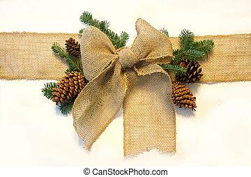 natal, burlap, cones, pinho, arco, embrulhado, backgro, branca, ao redor