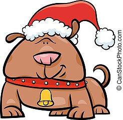 natal, cão, caricatura, tempo
