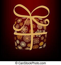 natal, caixa, feito, de, dourado, snowflakes., +, eps8