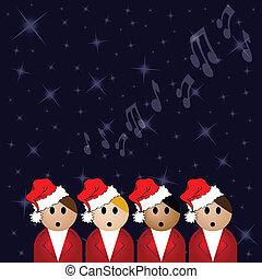 natal canta alegremente, cantores