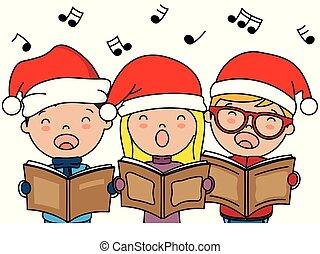 natal, cantando, crianças, canções