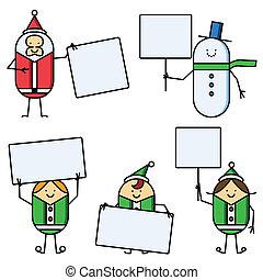 natal, caráteres, segurando, sinais