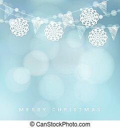 natal, card., inverno, partido, decoration., vetorial, ilustração, com, corda luzes, papel, corte, snowflakes, e, obscurecido, experiência.
