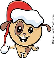 natal, caricatura, cão