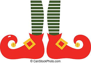 natal, caricatura, elf's, pernas, isolado, branco
