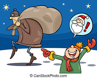 natal, caricatura, ilustração, ladrão