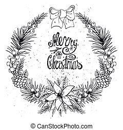 natal, cartão cumprimento, com, cítrico